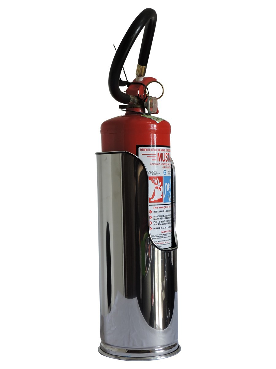 Suporte de chão para extintor em aço inox polido